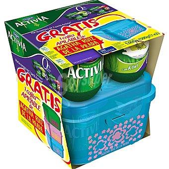 Activia Danone Yogur desnatado con frutos rojos pack 4 + yogur desnatado con kiwi pack 4 unidades 125 g + caja apilable Aghata Ruiz de la Prada Pack 4