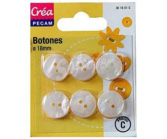 STYLE Botones abombados de 18 milímetros, color blanco style Pack de 6