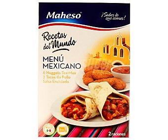 Maheso Menú mexicano con 6 nuggets tex-mex, 2 tacos de pollo y salsa enchilada 440 gramos