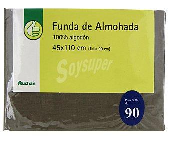 Productos Económicos Alcampo Funda de almohada, color gris piedra, 90 centímetros 1 Unidad