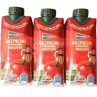 EL CORTE INGLES Gazpacho tradicional  Pack 3 envase 330 ml