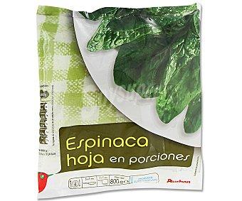 Auchan Hojas de espinaca en porciones Paquete de 800 gramos