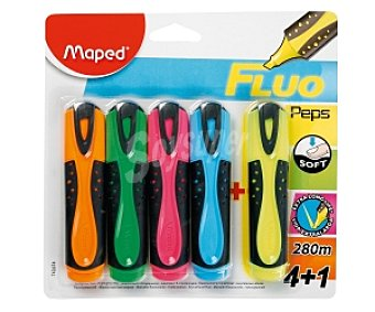 Maped Lote de 5 imarcadores fluorescentes con grip suave y de colores amarillo, naranja, rosa, verde y azul 5u