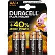 Alcalina AA (lr6 - mn1500) 1,5 voltios blister 4 unidades 4 unidades Duracell Plus