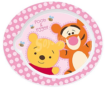 Disney Plato ovalado para bebé, color rosa, Winnie the pooh