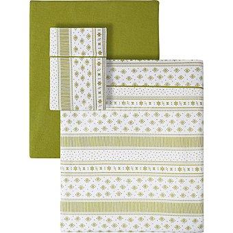 Unit Flake uego de sabanas franela geometrico color verde para cama 105 cm