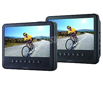 """Lazer T162A Reproductor DVD portátil Multiformato, 2 pantallas de 7"""", puerto usb, color negro"""