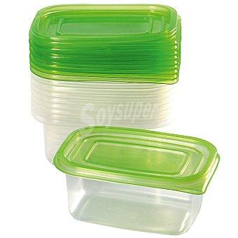 FLASH Herméticos Rectangulares transparente y tapa verde set de 10 unidades 10 unidades