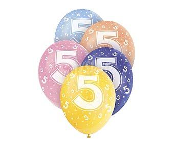 UNIQUE Globos de látex de colores surtidos con número 5 impreso, 12 pulgadas, 30 centímetros 5 unidades