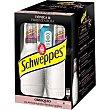 Schweppes premium mixers tónica & pimienta rosa + Miniatura de ginebra Pack 4 botellas 20 cl Bombay Sapphire