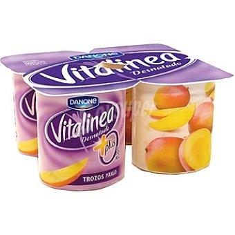 Danone Vitalinea Yogur desnatado 0% plus con trozos de mango pack 4 unds. 125 g Pack 4 un
