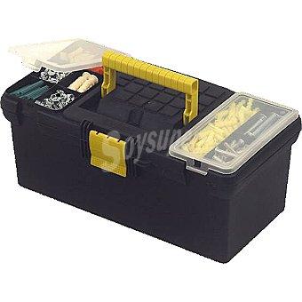 STANLEY Caja de herramientas con cierres de plástico y organizadores en la tapa, color gris/amarillo de 40 cm