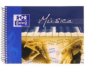 Oxford Bloc de música de 4º, apaisado, con 20 hojas de papel satinado extra blanco de 90 gramos y encudernación mediante espiral metálica 1 Unidad