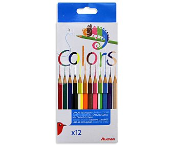 Auchan Caja con 12 lápices para colorear, con ventanita para poner tu nombre 1 unidad