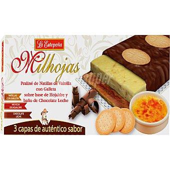 LA ESTEPEÑA Milhojas Praliné de natillas con galleta sobre base de hojaldre y baño de chocolate Tableta 200 g