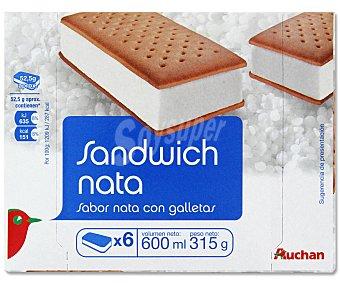 Auchan Sándwich Helado de Nata Pack 6 Unidades de 100 Mililitros