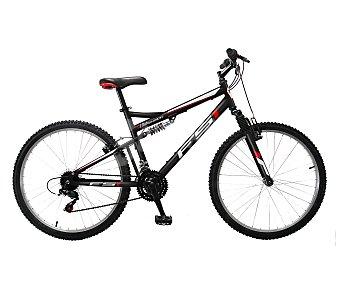 TNT Bicicleta de montaña Full Suspension de 26 pulgadas con 18 velocidades, cuadro de acero y frenos v-brake 1 unidad