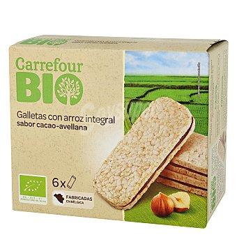 Carrefour Bio Galletas con arroz integral rellenas de cacao y avellana ecológicas 120 G 120 g