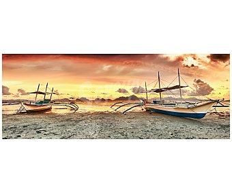 IMAGINE Cuadro con la imagen de dos barcos sobre la arena de una playa al atardecer y dimensiones de 30x80 centímetros 1 unidad