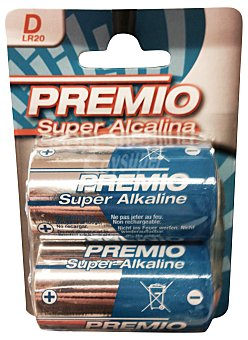 Premio Pila super alcalina d LR20 Paquete 2 uds