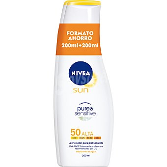 Nivea Sun Leche solar FP-50 para piel sensible resistente al agua pack 2 frasco 200 ml Pure & Sensitive Pack 2 frasco 200 ml