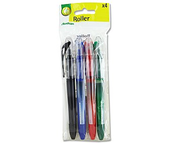Productos Económicos Alcampo Bolígrafos Roller 4 Colores Azul, Negro, Verde y Rojo 4 Unidades