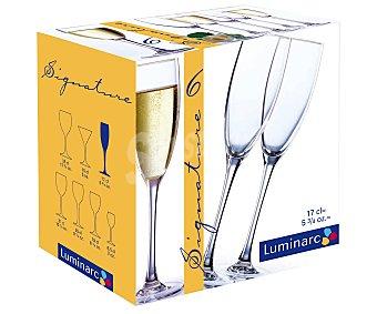 Luminarc Pack de 6 copas flauta modelo Signature con capacidad de 17 centilitros 1 Unidad