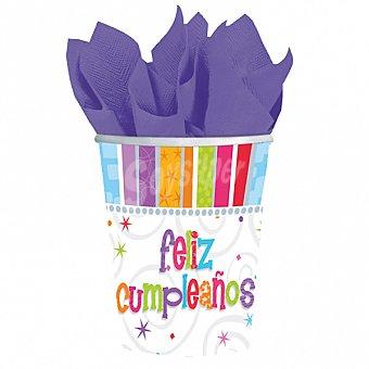 """LIRAGRAM Vaso cartón decorado """"feliz cumpleaños"""" 266 ml 8 unidades"""