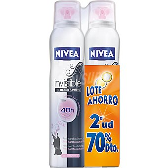 Nivea Desodorante Black & White Clear Invisible anti-manchas pack 2 spray 200 ml (pack precio especial 2ª unidad al 70%) Pack 2 spray 200 ml