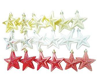 Actuel Caja con 6 colgantes con formas de estrella de 6 centímetros de diferentes colores con acabado brillante y metalizado ACTUEL. Este producto dispone de distintos modelos o colores. Se venden por separado SE SURTIRÁN SEGÚN EXISTENCIAS
