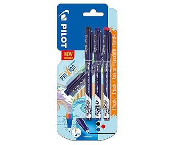 PILOT Frixion Bolígrafo borrable con punta de fibra y trazo de escritura 0,4 mm, azul, negro y rojo, pilot fineliner