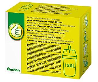 PRODUCTO ECONÓMICO ALCAMPO Caja de filtros para jarras filtrantes o purificantes, duración: 150 Litros (4-6 semanas/Filtro) 3 Unidades.