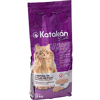 KATAKÁN Control de bolas de pelo Select para gatos con pollo y verduras  Bolsa 1,5 kg
