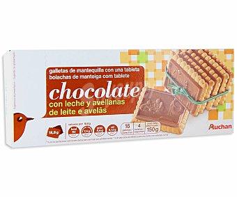 Auchan Galletas de mantequilla con tableta de chocolate con leche y avellanas 150 gr