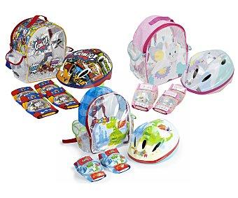 Deportes Set de protecciones patinaje con casco, rodilleras, coderas y mochila con diferentes diseños, deportes.