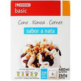 Eroski Basic Cono de nata Pack 4x120 ml
