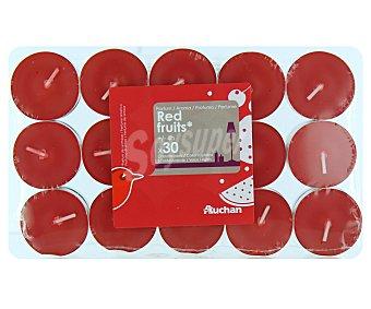 Actuel 30 velas calientaplatos rojas, perfumadas con olor a frutos rojos auchan