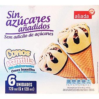 Aliada Cono helado sabor vainilla sin azúcares añadidos 6 unidades estuche 720 ml 6 unidades