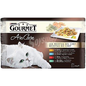 Gourmet Purina Recetas del chef para gatos A la carte  4 bolsas de 85 g