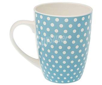 Versa Mug fabricado en gres color azul con lunares, , versa 0,35 litros