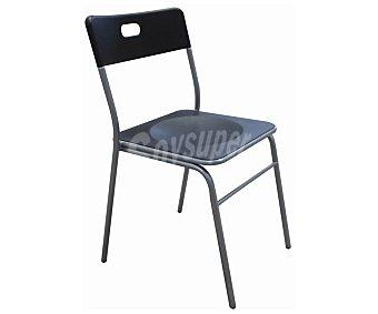 SDPE Silla de cocina fabricada en aluminio con asiento y respaldo de Pvc, modelo Miu color negro, 80x45x52 centímetros 1 Unidad