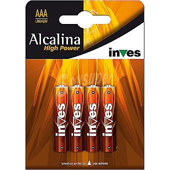 INVES HIGH POWER Pila super alcalina AAA(LR03) 15 voltios blister 4 unidades 4 unidades