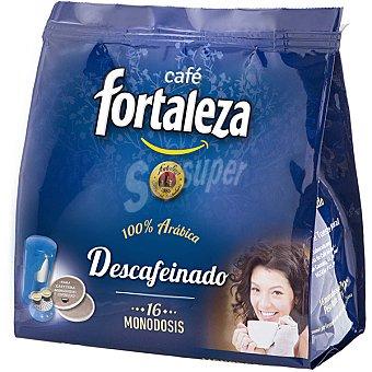 Fortaleza Café natural descafeinado 100% arábica para cafeteras monodosis y espresso paquete 125 g 16 unidades