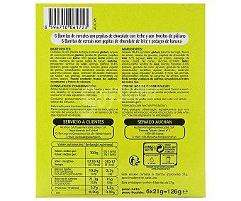 Productos Económicos Alcampo Barritas de cereales con pepitas de chocolate negro y cacahuetes 6 unidades de 21 gramos