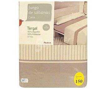 Auchan Juego de sábanas para cama de 150 centímetros con estampado a rayas color bisón, modelo Tenerife 1 unidad