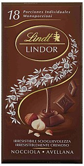 LINDT LINDOR Chocolate con leche relleno de crema de chocolate con trozos de avellana Tableta 100 g