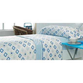 CASACTUAL Juego de cama pirineo con rombos en color azul para cama 105 cm