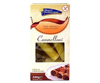 PIACERI MEDITERRANEI Cannelloni, pasta a base de harina de maíz sin gluten 200 gramos