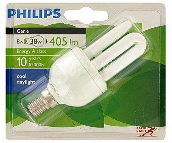 Philips Bombilla Genie tubo ahorradora, 8W, luz fría, vida útil estimada 8 años 1 Unidad