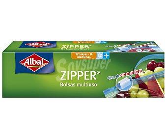 Albal bolsa de congelación multiusos Zipper medianas 1L con cierre de 12 unidades